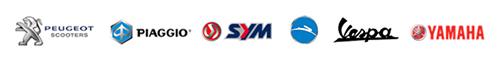 logo's: Peugeot, Piaggio, Sym, Tomos, Vespa, Yamaha
